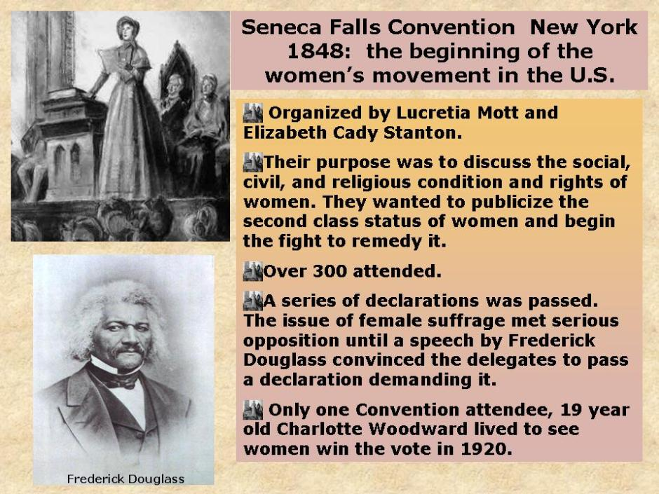 an analysis of the womens right to vote and the seneca falls convention by elizabeth cady stanton an Elizabeth cady stanton was a women who fought this is susan b anthony she was another person who fought for women's rights to vote in seneca falls convention.