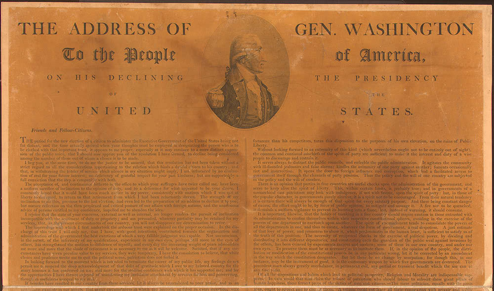 george washington and the farewell address Document 15, president george washington's farewell address,1796 historical background george washington's first term in office was marked by broad political support and the.