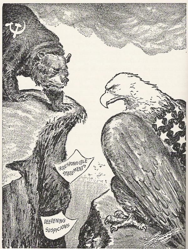 Political cartoon of US vs USSR