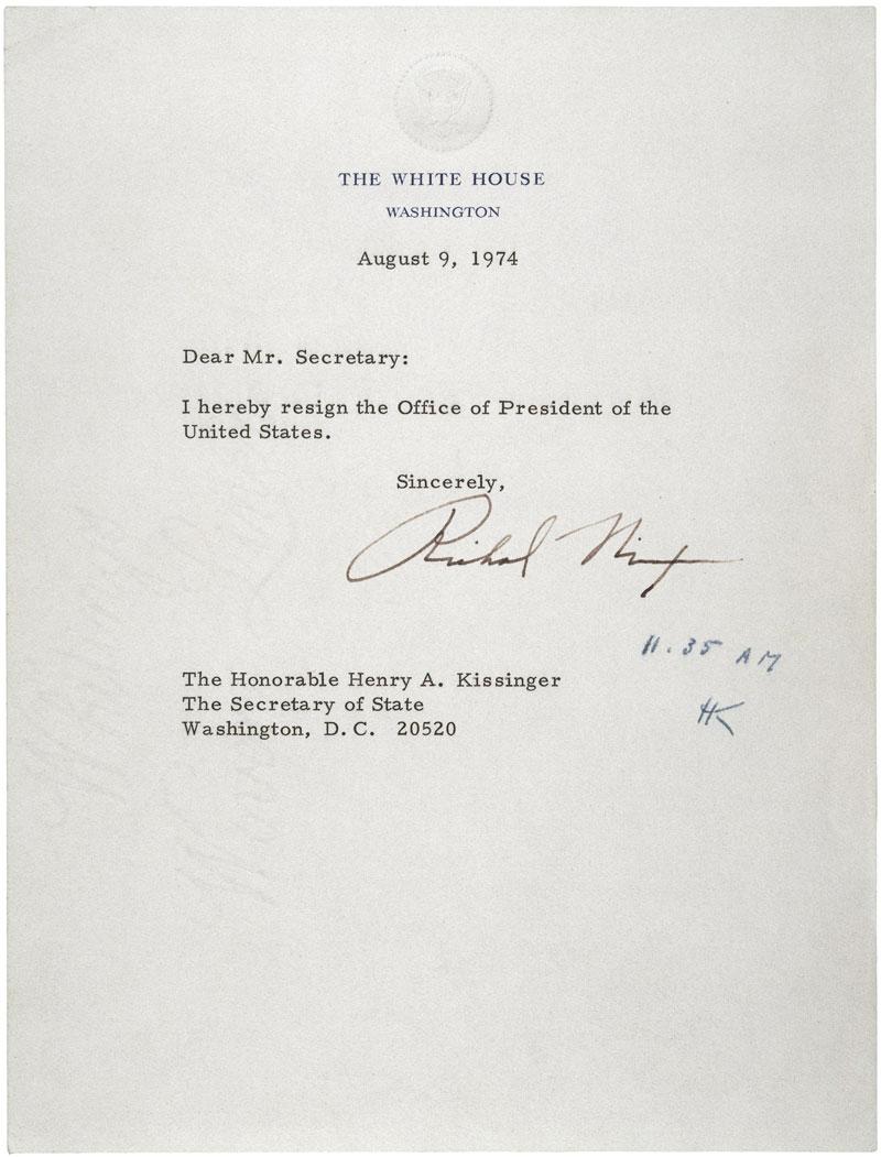Nixonu0027s Resignation Letter  Nixon Resignation Letter